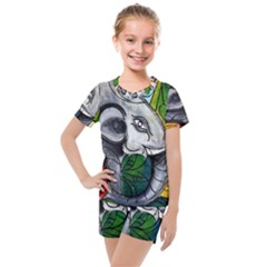 Graffiti The Art Of Spray Mural Kids  Mesh Tee And Shorts Set by Sapixe
