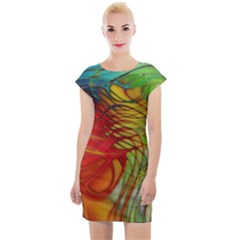 Texture Art Color Pattern Cap Sleeve Bodycon Dress