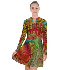 Texture Art Color Pattern Long Sleeve Panel Dress