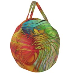 Texture Art Color Pattern Giant Round Zipper Tote by Sapixe