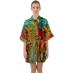 Texture Art Color Pattern Quarter Sleeve Kimono Robe by Sapixe