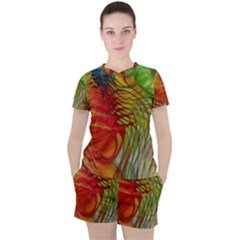 Texture Art Color Pattern Women s Tee And Shorts Set by Sapixe