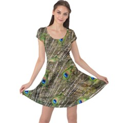 Peacock Feathers Color Plumage Green Cap Sleeve Dress