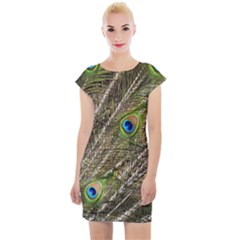Peacock Feathers Color Plumage Green Cap Sleeve Bodycon Dress