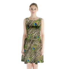 Peacock Feathers Color Plumage Green Sleeveless Waist Tie Chiffon Dress