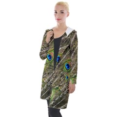 Peacock Feathers Color Plumage Green Hooded Pocket Cardigan