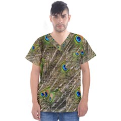 Peacock Feathers Color Plumage Green Men s V Neck Scrub Top