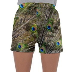 Peacock Feathers Color Plumage Green Sleepwear Shorts