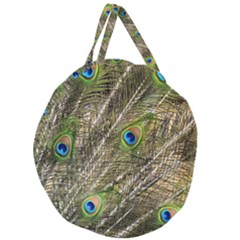 Peacock Feathers Color Plumage Green Giant Round Zipper Tote
