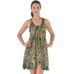 Peacock Feathers Color Plumage Green Show Some Back Chiffon Dress