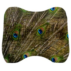 Peacock Feathers Color Plumage Green Velour Head Support Cushion by Sapixe