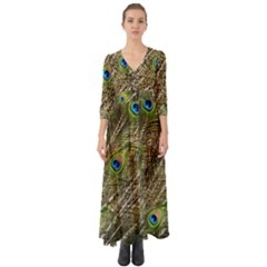Peacock Feathers Color Plumage Green Button Up Boho Maxi Dress