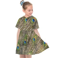 Peacock Feathers Color Plumage Green Kids  Sailor Dress