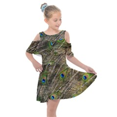 Peacock Feathers Color Plumage Green Kids  Shoulder Cutout Chiffon Dress