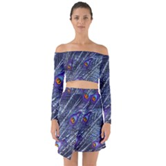 Peacock Feathers Color Plumage Blue Off Shoulder Top With Skirt Set