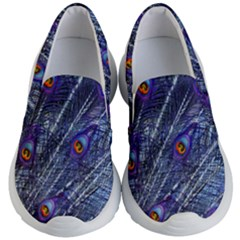Peacock Feathers Color Plumage Blue Kid s Lightweight Slip Ons by Sapixe