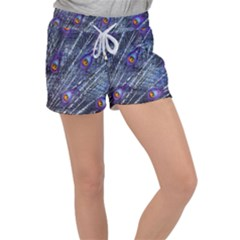 Peacock Feathers Color Plumage Blue Women s Velour Lounge Shorts by Sapixe