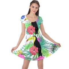 Leaves Tropical Nature Green Plant Cap Sleeve Dress