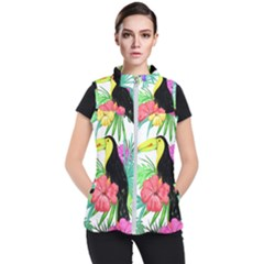 Leaves Tropical Nature Green Plant Women s Puffer Vest