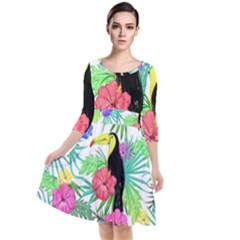 Leaves Tropical Nature Green Plant Quarter Sleeve Waist Band Dress