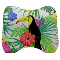 Leaves Tropical Nature Green Plant Velour Head Support Cushion by Sapixe