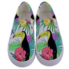 Leaves Tropical Nature Green Plant Kids  Canvas Slip Ons
