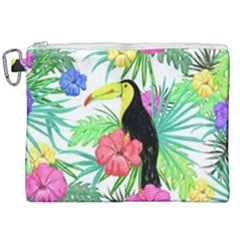Leaves Tropical Nature Green Plant Canvas Cosmetic Bag (xxl) by Sapixe