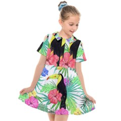 Leaves Tropical Nature Green Plant Kids  Short Sleeve Shirt Dress