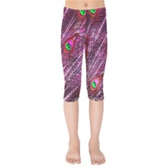 Peacock Feathers Color Plumage Kids  Capri Leggings  by Sapixe