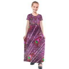 Peacock Feathers Color Plumage Kids  Short Sleeve Maxi Dress