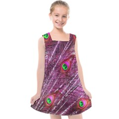 Peacock Feathers Color Plumage Kids  Cross Back Dress by Sapixe