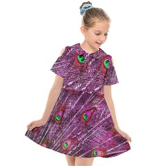 Peacock Feathers Color Plumage Kids  Short Sleeve Shirt Dress