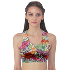 Art Flower Pattern Background Sports Bra