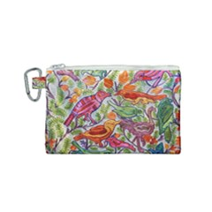 Art Flower Pattern Background Canvas Cosmetic Bag (small)