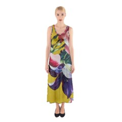 Textile Printing Flower Rose Cover Sleeveless Maxi Dress