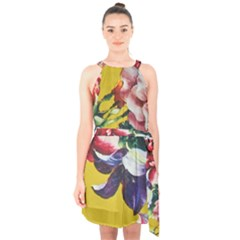 Textile Printing Flower Rose Cover Halter Collar Waist Tie Chiffon Dress