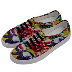 Textile Printing Flower Rose Cover Men s Classic Low Top Sneakers by Sapixe