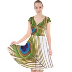 Peacock Feather Plumage Colorful Cap Sleeve Front Wrap Midi Dress by Sapixe