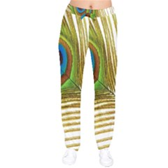 Peacock Feather Plumage Colorful Velvet Drawstring Pants by Sapixe