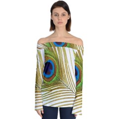 Peacock Feather Plumage Colorful Off Shoulder Long Sleeve Top by Sapixe