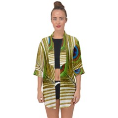Peacock Feather Plumage Colorful Open Front Chiffon Kimono