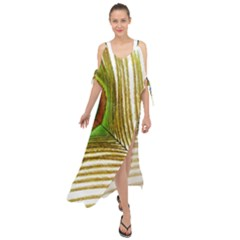 Peacock Feather Plumage Colorful Maxi Chiffon Cover Up Dress by Sapixe