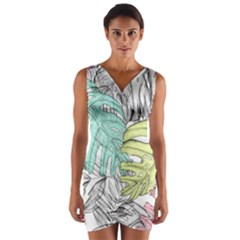 Leaves Tropical Nature Plant Wrap Front Bodycon Dress