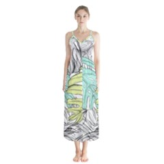 Leaves Tropical Nature Plant Button Up Chiffon Maxi Dress