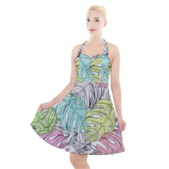 Leaves Tropical Nature Plant Halter Party Swing Dress  by Sapixe