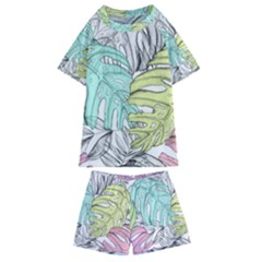 Leaves Tropical Nature Plant Kids  Swim Tee And Shorts Set by Sapixe
