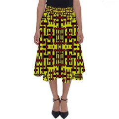 Red Black Yellow Perfect Length Midi Skirt