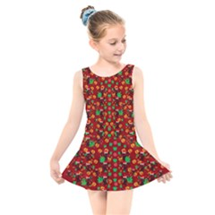 Christmas Time With Santas Helpers Kids  Skater Dress Swimsuit
