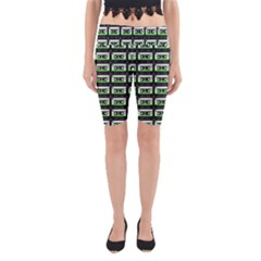 Green Cassette Yoga Cropped Leggings