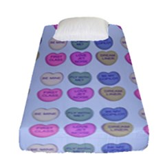 Valentine Hearts Blue Fitted Sheet (single Size)